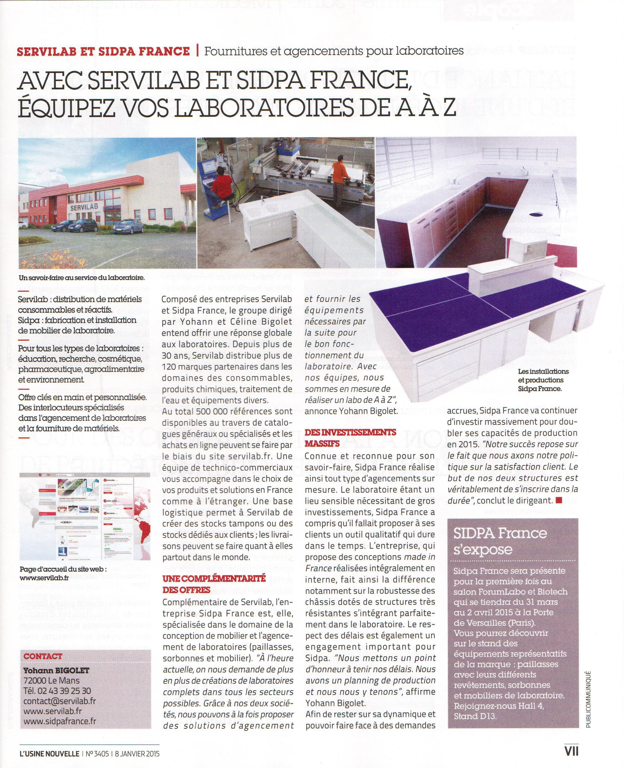article sidpa france servilab